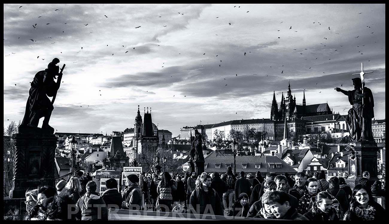 Pražský hrad, rackové, Karlův most, 2014, Sv. Kryštof, sv. Jan Křtitel, na mostě, Praha